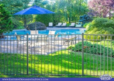 Eastern Ornamental Aluminum EO54202 54 inch BOCA pool code compliant pool fence shown here in Bronze