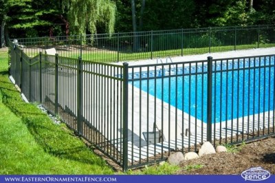 Eastern Ornamental 54 inch BOCA pool code compliant fence comes in 72 inch long sections. The Admiral series, A premium Residential Grade is available in 8 foot sections