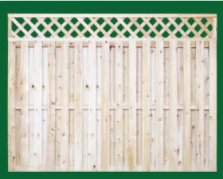 Eastern White Cedar Board On Board Fence with a closed top shown here with a diagonal lattice topper and is available in 4, 5, 6 and 8 foot heights.