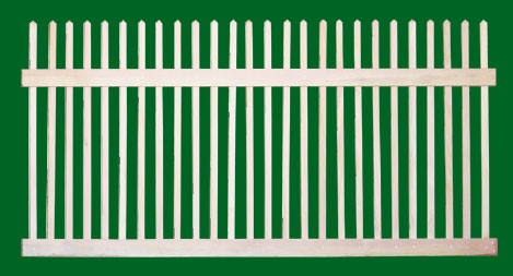 Classic Victorian Cedar picket fence panel with straight top. Pickets extend above the top rail