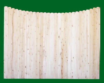 Eastern White Cedar Solid Shaped Privacy Fence  panel - Scalloped - with a number 11 picket top.