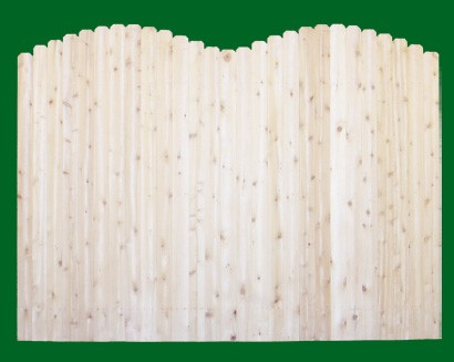 Eastern White Cedar Solid Shaped Privacy Fence panel - Double Crown -  with a number 11 picket top.