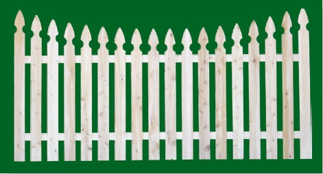 Eastern White Cedar Picket Fence panel with a number 2 shaped picket and scalloped top.