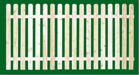 Eastern White Cedar Picket Fence panel with a number 5 shaped picket