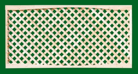 Eastern White Cedar Lattice Panel with top fascia board and diagonal lattice. Also available with square lattice.
