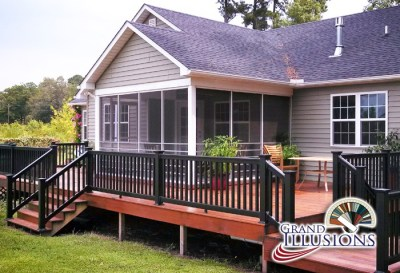 Grand Illusions Black is fast becoming a favorite choice for vinyl fence and deck railing. It's available on all the Illusions Vinyl Fence style to match your deck railing.