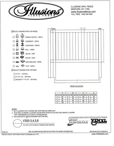 Illusions Vinyl fence style V300 is shown here with a Illusions Vinyl Fence style V300 which comes in all heights up to 6 feet tall (without a mid rail) - our most popular vinyl fence section. All Illusions fence styles, this panel can be ordered in any of the exciting Grand Illusions color or wood grain finish with a gate to match.