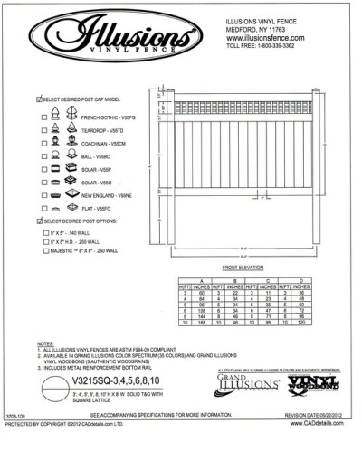 Illusions Vinyl Fence style V3215SQ a T&G privacy panel with square lattice top. This panel is available in all heights, colors and wood grain finishes with matching gates as well.