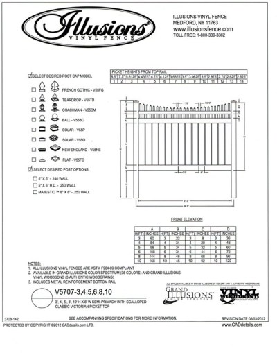 V5707 Style by Illusions Vinyl Fence  has a Scalloped Victorian picket top and 6 inch boards that are spaced 1/2 inch apart as the base.