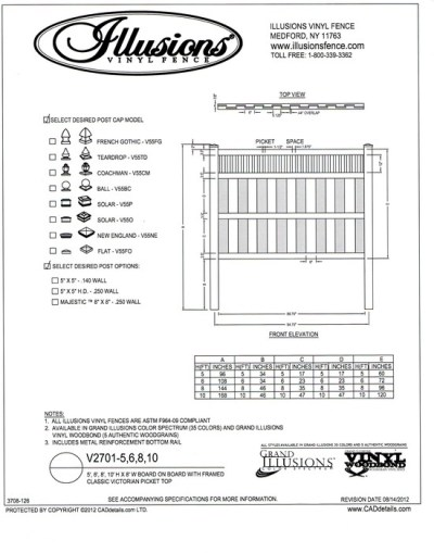 Illusions Vinyl Fence offers a framed Victorian picket top panel and as with all Illusions products, it can be purchased in any of the Illusions colors or wood grain finishes..