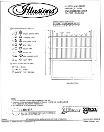 Illusions Vinyl Fence Contemporary picket (7/8x3 inch) with stepped top and dog eared cap. Three rails are required on 6 foot tall panels. All Illusions fence products are available in the Classic, Grand Illusions Color Spectrum ot the WoodBond wood grain finish.