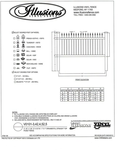 This ornamental picket fence by Illusions a straight open top. It can be ordered in all Illusions fence colors and in heights of 3, 42 inch, 4, 52 inch and 5 foot.
