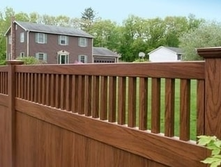 brown vinyl picket fence. V3701 T\u0026G Privacy Panel With Framed Classic Victorian Picket Top Finished In Grand Illusions Rosewood Wood Brown Vinyl Fence