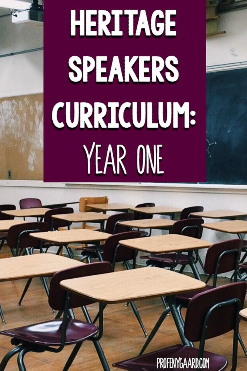 heritage speakers curriculum: year one