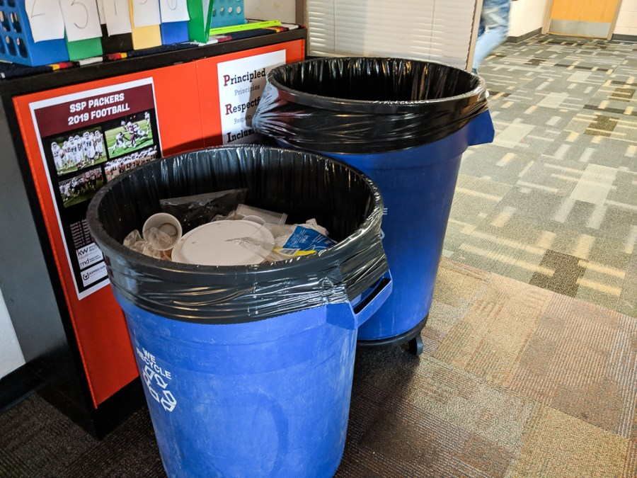 trash cans for class party