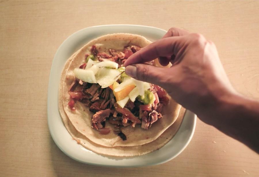 taco de carnitas from taco chronicles