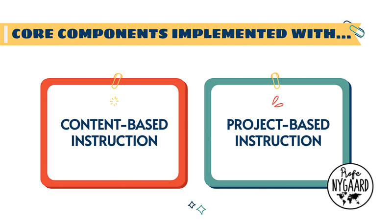 core components implemented with content-based instruction and project-based instruction