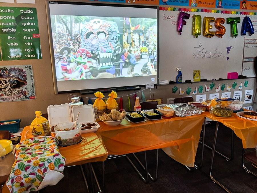 Fiesta in Spanish class for heritage speakers