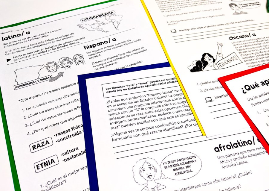 identity terms worksheets for heritage speakers