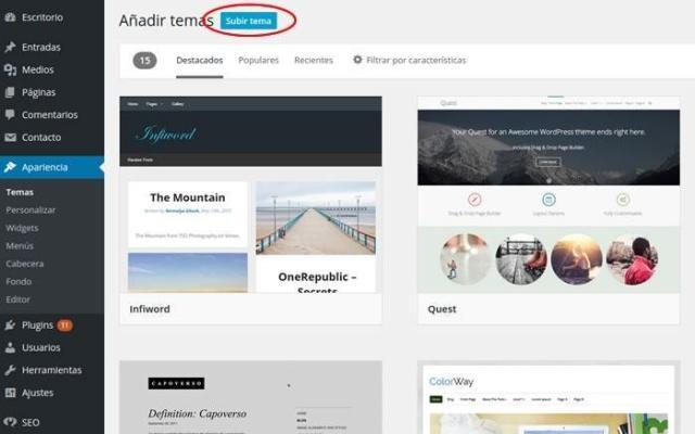 Imagen temas WordPress para crear un blog