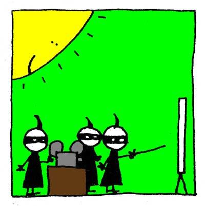 Les Ninjas échafaudent un plan pour mettre de la Muzak sur le Bato.