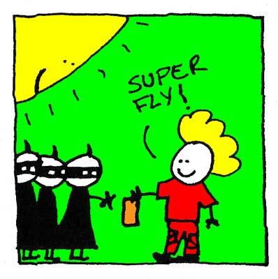 Fred montre son flyer à ses Ninjas.