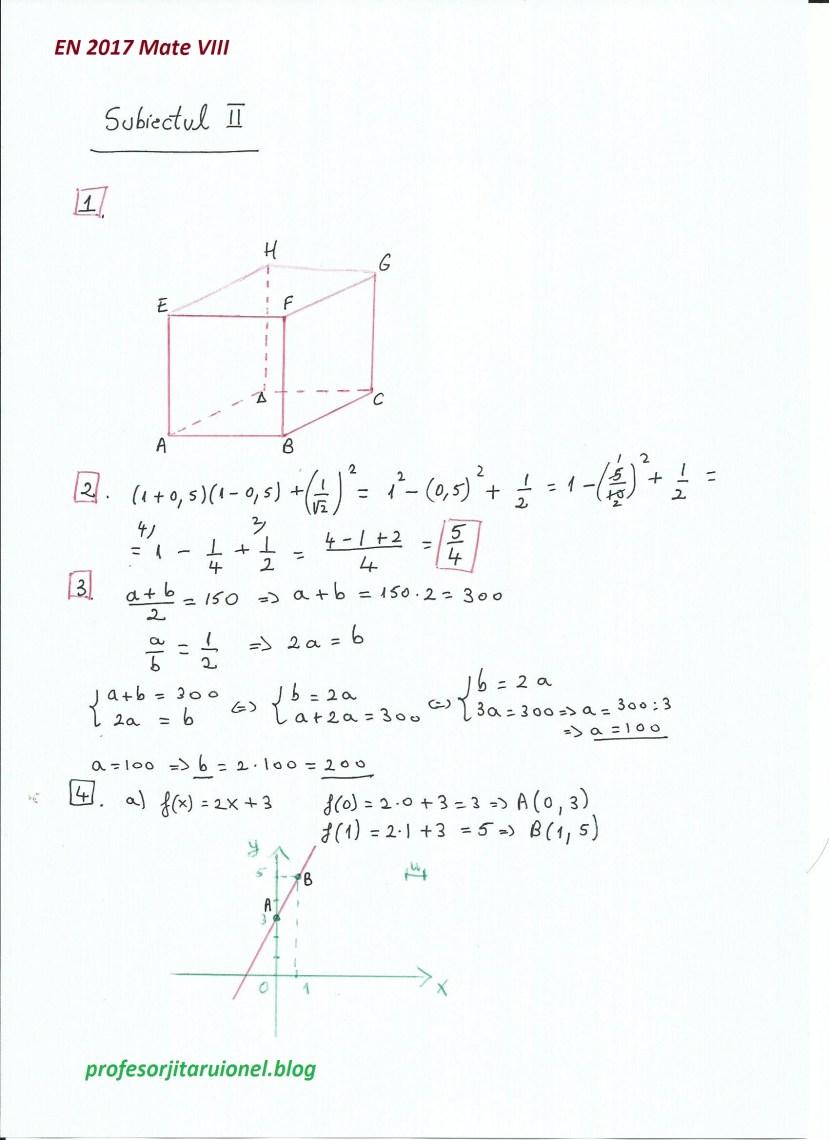 Subiectul II (1-4)