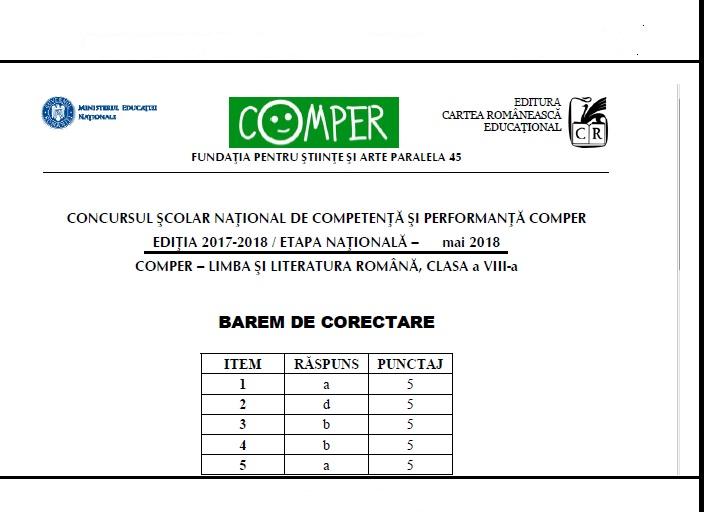 Barem Simulare Romana 2019 Detail: Etapa Nationala COMPER 2018 -Romana -subiecte +bareme -mai