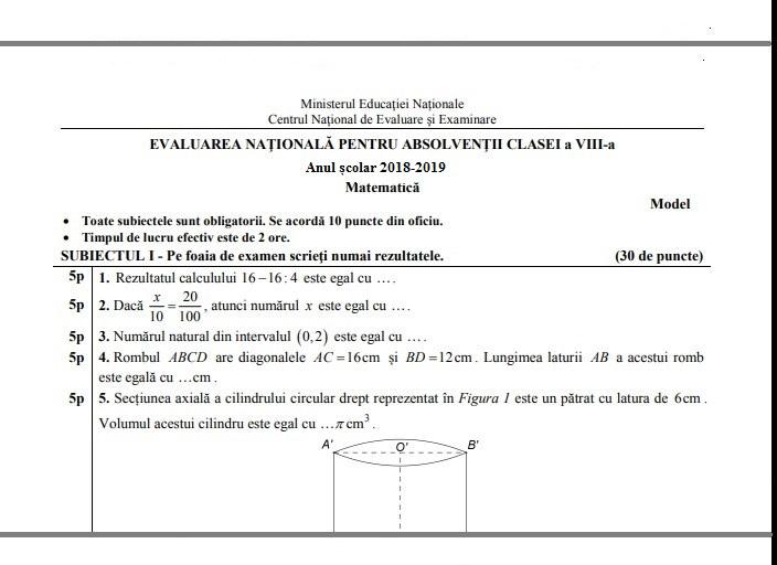 Barem Simulare Romana 2019 Detail: 45 Modele Oficiale EDU Cu Rezolvări (bareme) Pentru