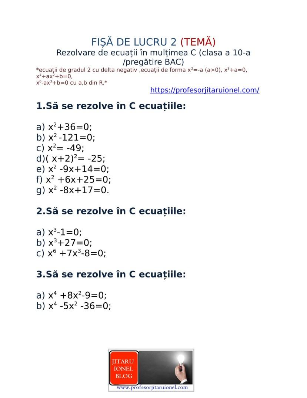 Rezolvare de ecuatii in C -fisa de lucru-2