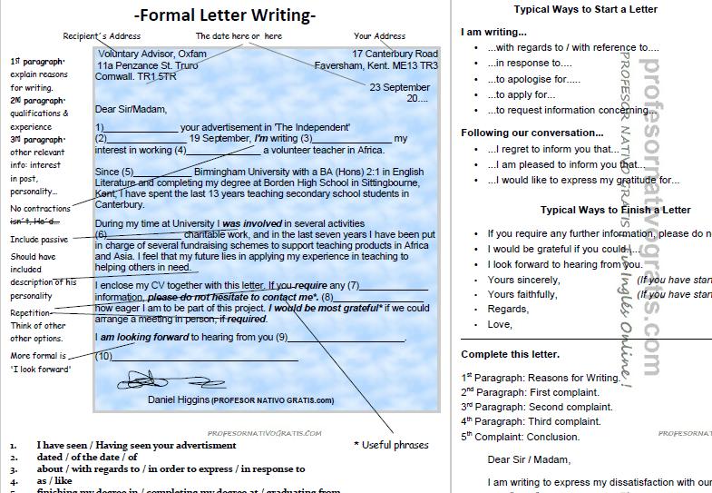 Letter writing escribir una carta formal en ingls spiritdancerdesigns Image collections