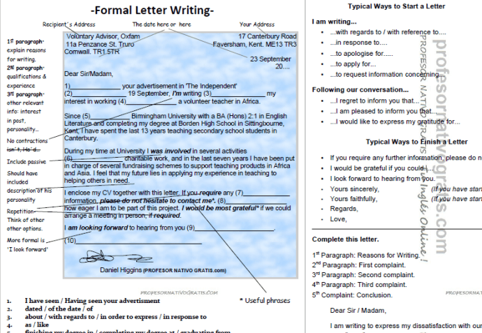 Letter writing escribir una carta formal en ingls letter writing spiritdancerdesigns Gallery