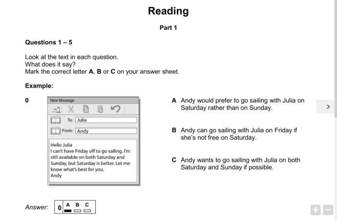 Cambridge PET Reading Part 1 -