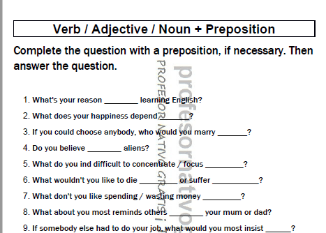 the preposition class verb noun adj preposition