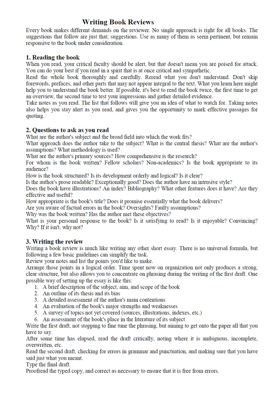 english essay book review Job materials and application essays application essays (and personal statements) resume writing tips cv writing tips  below are a few guidelines to help you write the introduction to your critical review  the introduction to a book review is always the place for you to establish your position as the reviewer (your thesis about the.