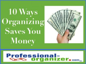 save money by organizing