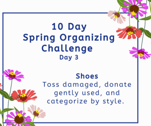 spring organizing challenge shoes
