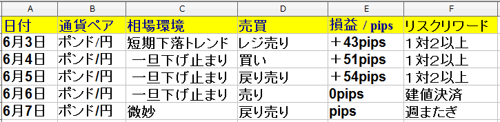 2019年6月3日(月)~6月7日(金)トレード回数は9回で、勝率は43%でした。
