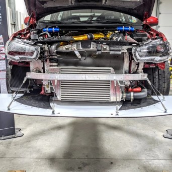 Professional Awesome Racing Large Splitter Diffusers and Splitter Support Rods Installed on Mitsubishi Evolution X
