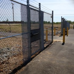 Bollards At A Driveway Gate Entry