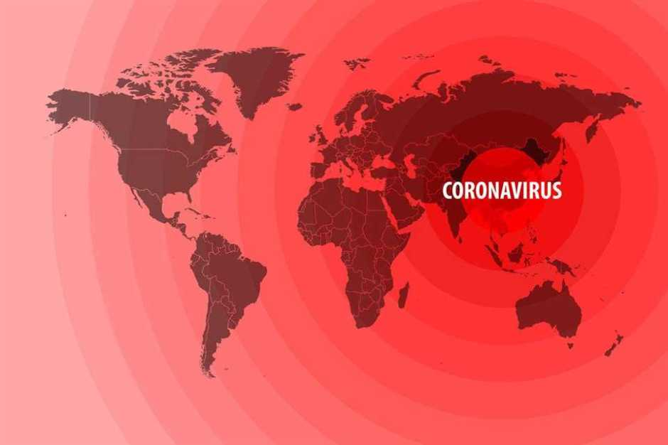 Illustration of the spread of a new coronavirus from China around the world