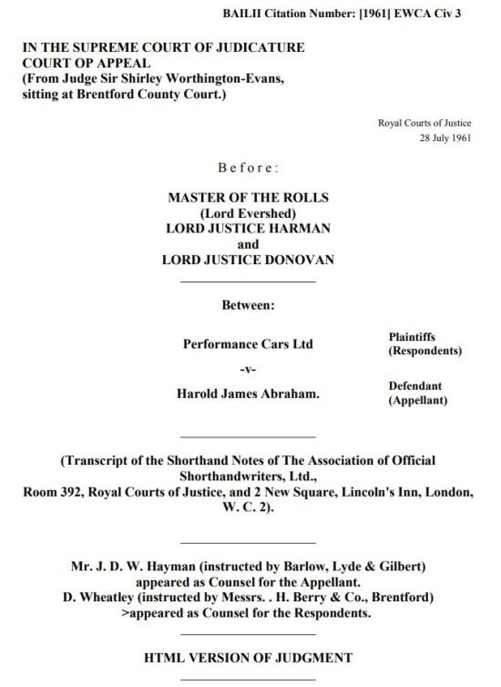 Performance Cars Ltd v Harold James Abraham lexlaw professional negligence solicitor lawyer barrister london tort compensation claim no win no fee conditional fee arrangement cfa dba