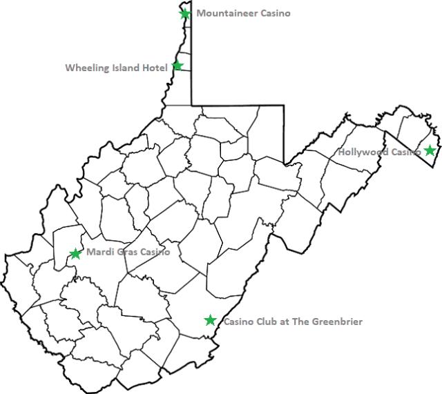 Map of WV Casinos