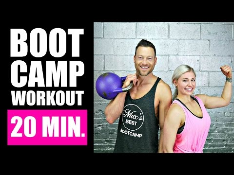 20 MINUTE BOOTCAMP WORKOUT WITH KETTLEBELL, CARDIO, ABS | Elephantine Burning Boot Camp Workout Routine 1