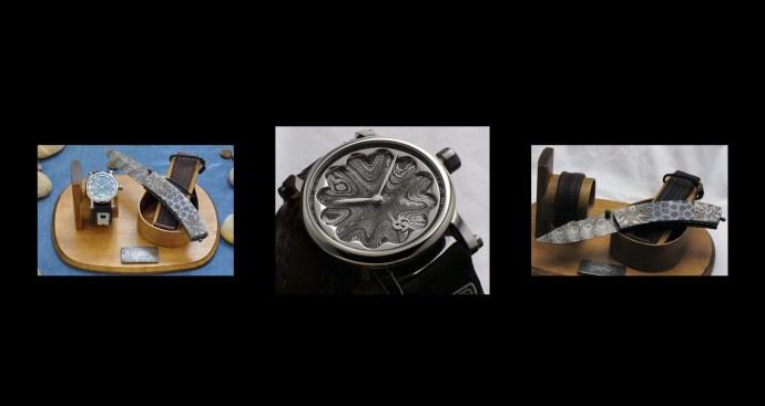 Gustafsson & Sjögren Damascus steel knife and watch set