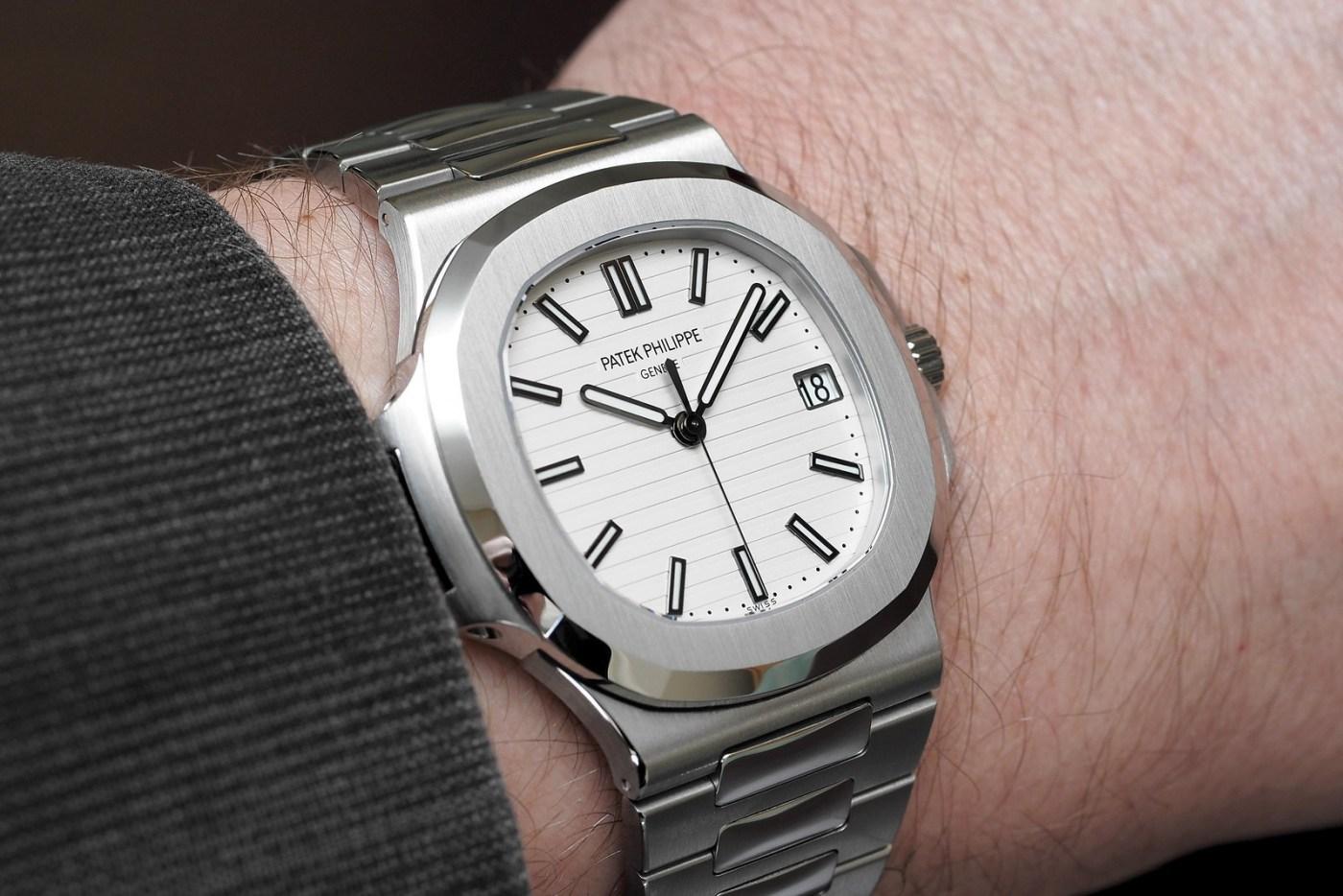 Patek Philippe Nautilus Jumbo White Dial 5711-1A-011 wristshot