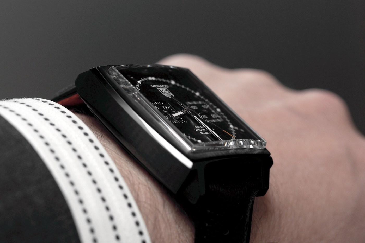 Heuer Monaco Calibre 12 Chronograph ACM Black Edition wristshot