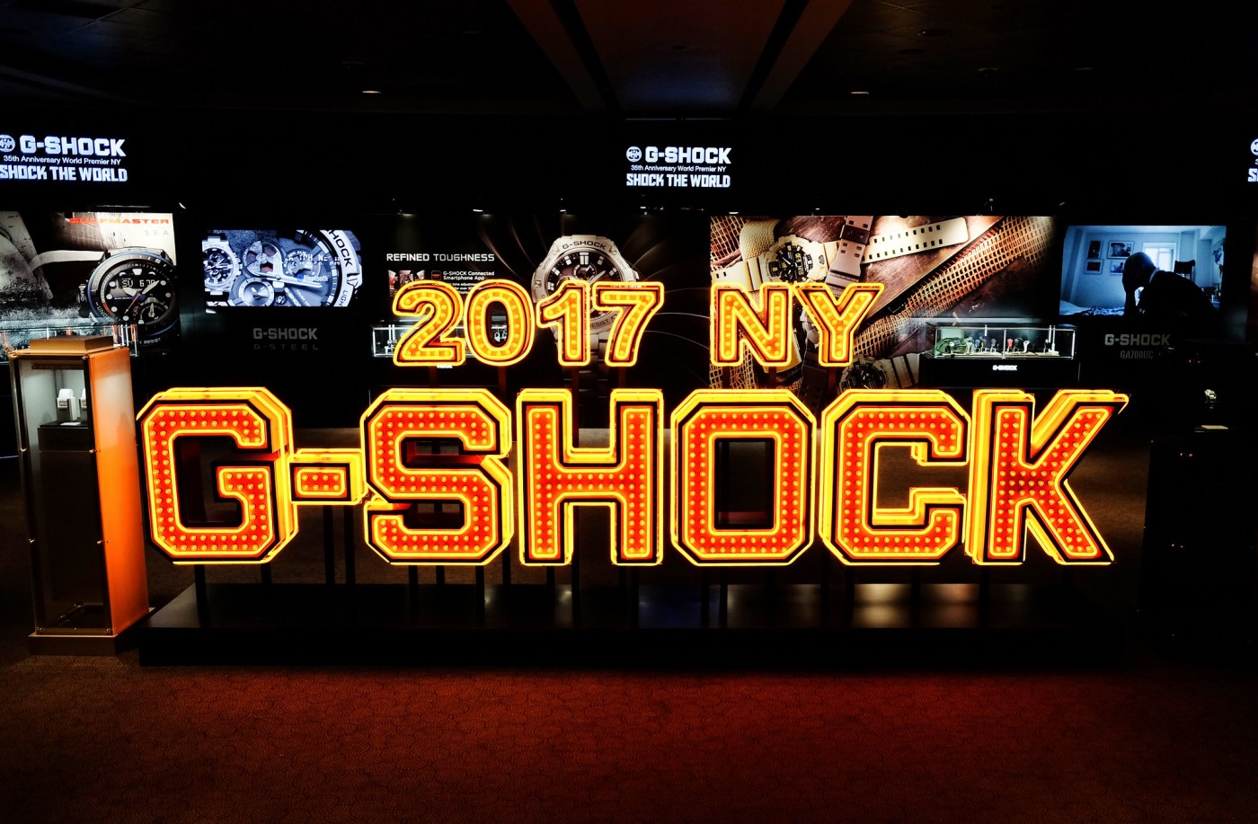 Massive G-Shock sign in the center of the exhibit