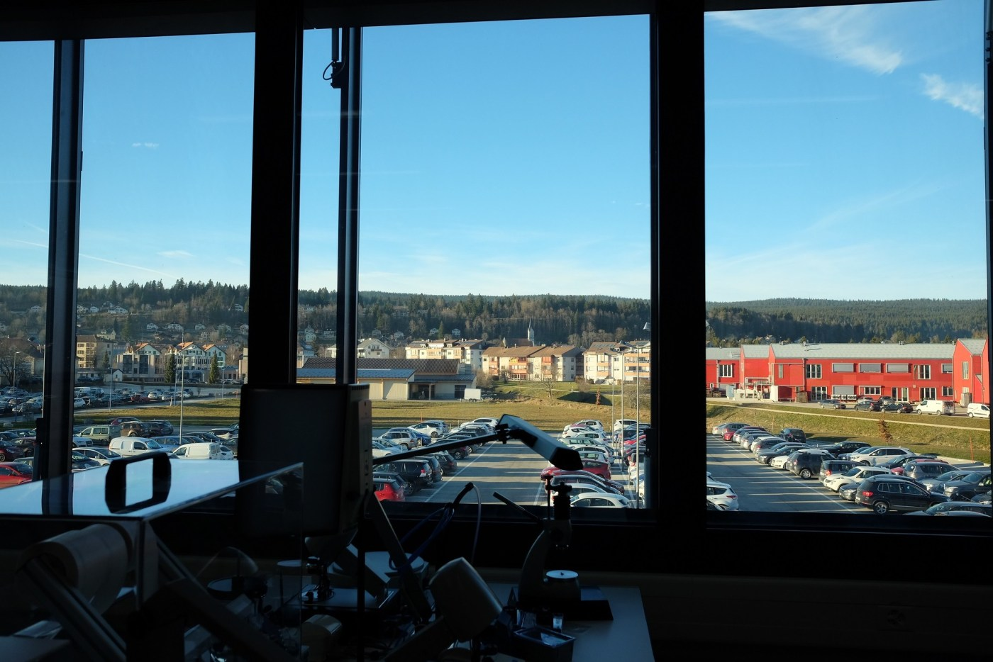A view of the Vallée de Joux from inside Breguet's L'Orient manufacture (formerly Lemania)