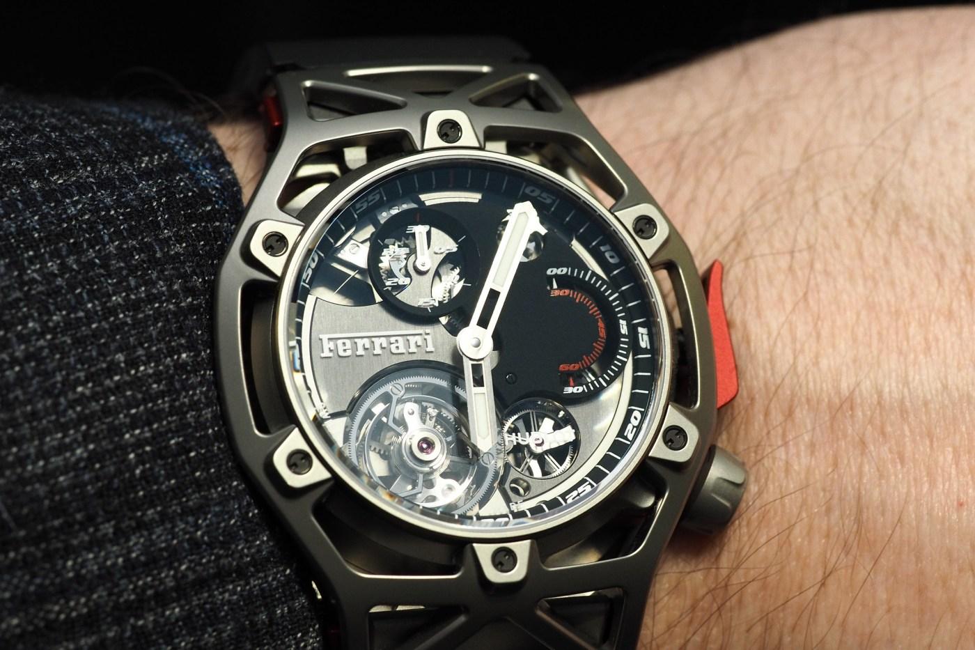 Techframe Ferrari Tourbillon Chronograph titanium wristshot